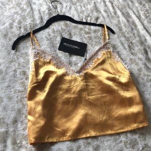 Gold satin tank top